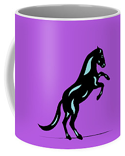 Emma II - Pop Art Horse - Black, Island Paradise Blue, Purple Coffee Mug