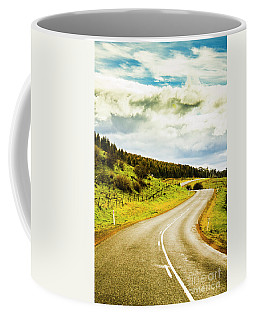 Empty Asphalt Road In Countryside Coffee Mug