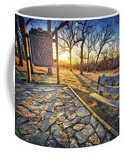 Empty Park Bench - Sunset At Lapham Peak Coffee Mug by Jennifer Rondinelli Reilly - Fine Art Photography