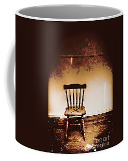 Empty Wooden Chair With Cross Sign Coffee Mug