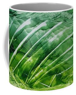 Encaustic Abstract Green Fan Foliage Coffee Mug