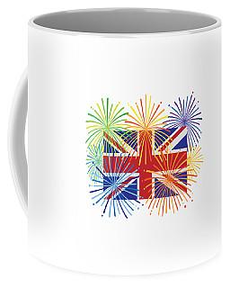 England Jack Union Flag Fireworks Illustrationing Evening Blu Coffee Mug