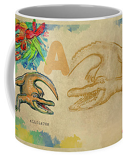 Coffee Mug featuring the drawing English Alphabet , Alligator  by Ariadna De Raadt