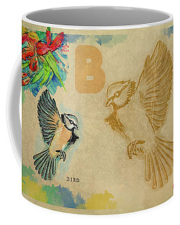 Coffee Mug featuring the drawing English Alphabet , Bird by Ariadna De Raadt