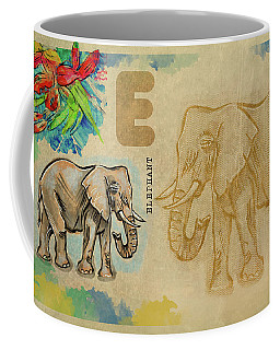 Coffee Mug featuring the drawing English Alphabet , Elephant by Ariadna De Raadt