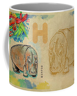 Coffee Mug featuring the drawing English Alphabet ,  Hippos by Ariadna De Raadt