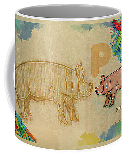 Coffee Mug featuring the drawing English Alphabet , Pig by Ariadna De Raadt
