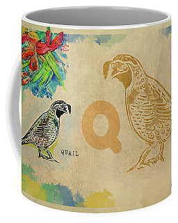 Coffee Mug featuring the drawing English Alphabet , Quail by Ariadna De Raadt