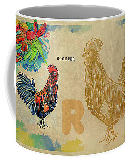 Coffee Mug featuring the drawing English Alphabet , Rooster  by Ariadna De Raadt