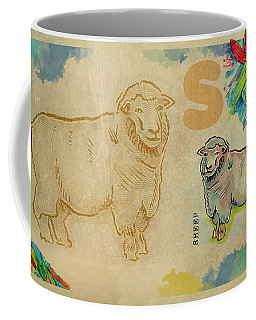 Coffee Mug featuring the drawing English Alphabet , Sheep  by Ariadna De Raadt