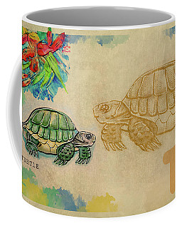 Coffee Mug featuring the drawing English Alphabet , Turtle  by Ariadna De Raadt