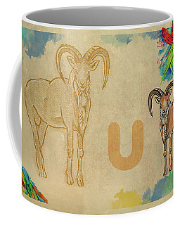 Coffee Mug featuring the drawing English Alphabet , Urial  by Ariadna De Raadt