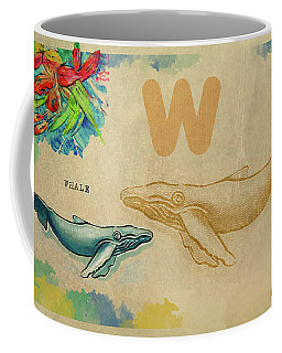 Coffee Mug featuring the drawing English Alphabet , Whale by Ariadna De Raadt
