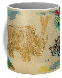 Coffee Mug featuring the drawing English Alphabet , Yak  by Ariadna De Raadt