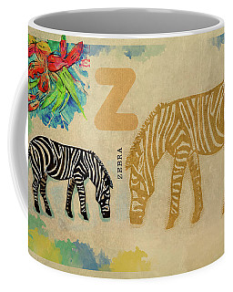 Coffee Mug featuring the drawing English Alphabet , Zebra by Ariadna De Raadt