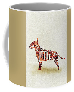 Coffee Mug featuring the painting English Bull Terrier Watercolor Painting / Typographic Art by Ayse and Deniz