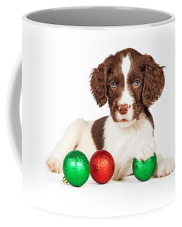 English Springer Spaniel Puppy With Christmas Baubles Coffee Mug