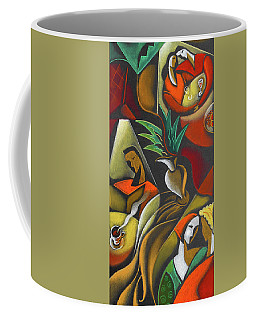 Coffee Mug featuring the painting Enjoying Food And Drink by Leon Zernitsky