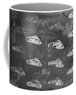Coffee Mug featuring the painting Eoliths Grayscale by Robin Maria Pedrero