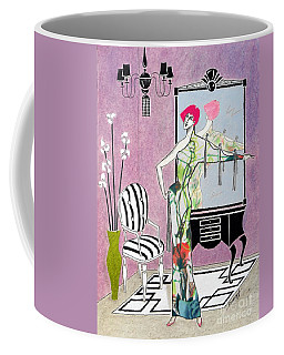 Erte'-esque -- Art Deco Interior W/ Fashion Figure Coffee Mug