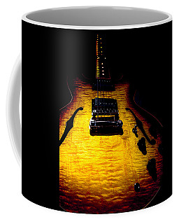 Coffee Mug featuring the digital art Es-335 Dots Flame Burst Spotlight Series by Guitar Wacky