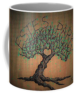 Coffee Mug featuring the drawing Estes Park Love Tree by Aaron Bombalicki