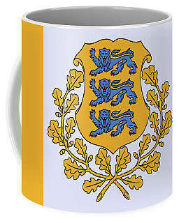 Coffee Mug featuring the drawing Estonia Coat Of Arms by Movie Poster Prints