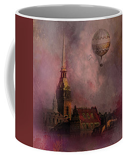 Coffee Mug featuring the digital art Stockholm Church With Flying Balloon by Jeff Burgess