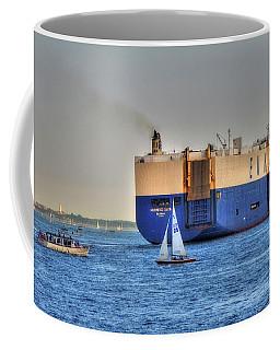 Coffee Mug featuring the photograph Eukor Car Carrier Ship - Boston Harbor by Joann Vitali