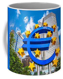 Euro Sign At European Central Bank In Frankfurt, Germany Coffee Mug
