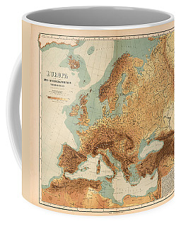 Europe - Geological Map Showing Land And Water Resources - Historical Map - Antique Relief Map Coffee Mug