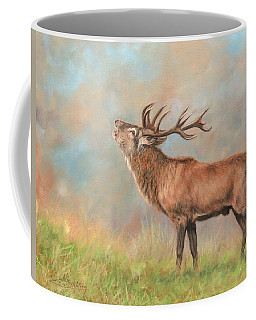Coffee Mug featuring the painting European Red Deer by David Stribbling