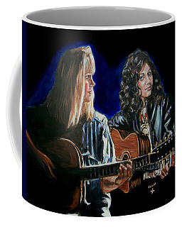 Coffee Mug featuring the painting Eva Cassidy And Katie Melua by Bryan Bustard