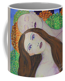 Coffee Mug featuring the painting Eve Emerges by Kim Nelson