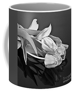 Even Tulips Are Beautiful In Black And White Coffee Mug by Sherry Hallemeier