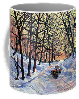 Evening Glow On A Winter Lane Coffee Mug
