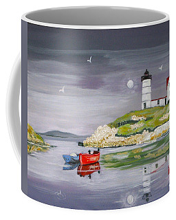 Coffee Mug featuring the painting Evening Lighthouse by Phyllis Kaltenbach