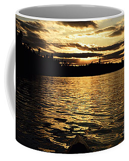 Coffee Mug featuring the photograph Evening Paddle On Amoeber Lake by Larry Ricker
