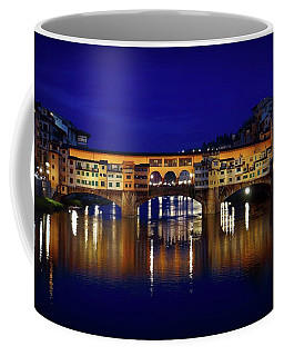 Coffee Mug featuring the photograph Evening View Of Ponte Vecchio by Patricia Strand