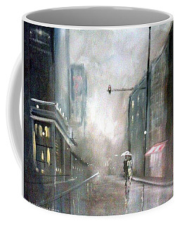 Evening Walk In The Rain Coffee Mug by Raymond Doward