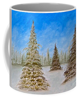 Evergreens In Snowy Field Enhanced Colors Coffee Mug