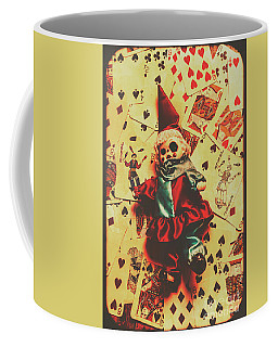 Evil Clown Doll On Playing Cards Coffee Mug