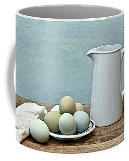 Exotic Colored Eggs With Pitcher Coffee Mug by Pattie Calfy