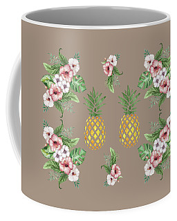 Coffee Mug featuring the painting Exotic Hawaiian Flowers And Pineapple by Georgeta Blanaru