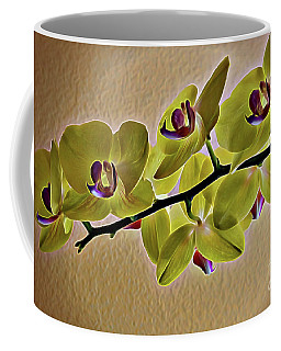 Coffee Mug featuring the photograph Exotic Orchid In Chartreuse  by Diana Mary Sharpton