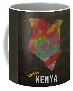 Experience Kenya Map Hand Drawn Country Illustration On Chalkboard Vintage Travel Promotional Poster Coffee Mug