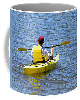 Coffee Mug featuring the photograph Exploring In A Kayak by Sandi OReilly