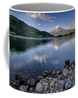Exploring My Way Along Lake Kawaguchi Shoreline Coffee Mug