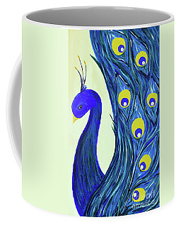 Coffee Mug featuring the painting Expressive Brilliant Peacock B71117 by Mas Art Studio