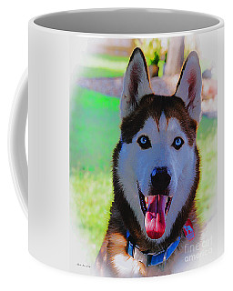 Coffee Mug featuring the digital art Expressive Siberian Husky  A62117d by Mas Art Studio